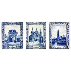 Delft Porceleyne Fles Small Wall Plates, the Hague and Delft, 1894 and 1912