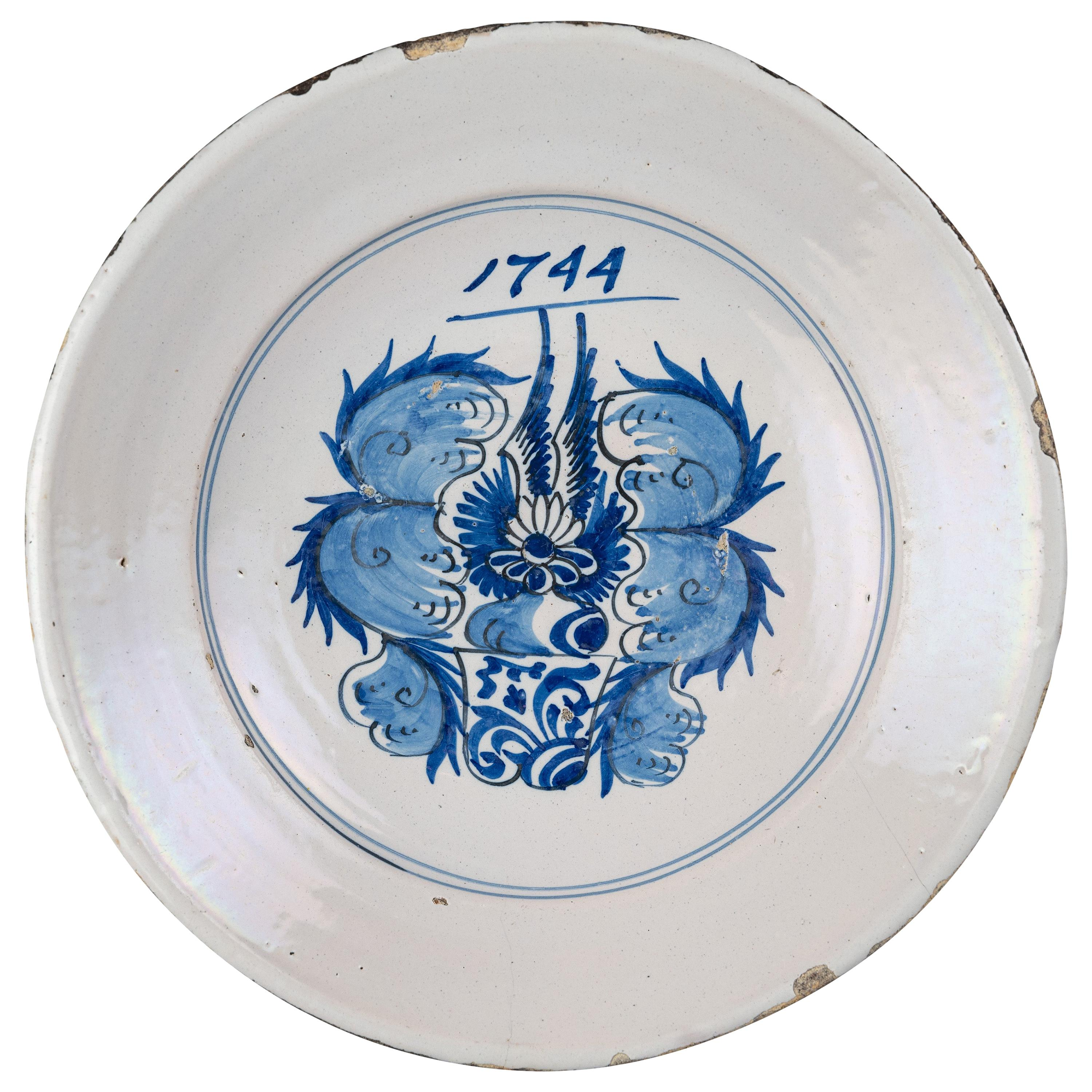 Delftware, Blue and White Armorial Dish, Harlingen Dated 1744