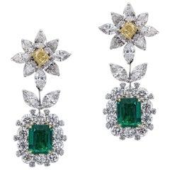 Delicate 18 Karat White Gold, Diamond and Emerald Earrings