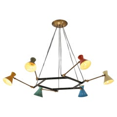 Delicate Adjustable Chandelier with Six Colorful Patinated Shades