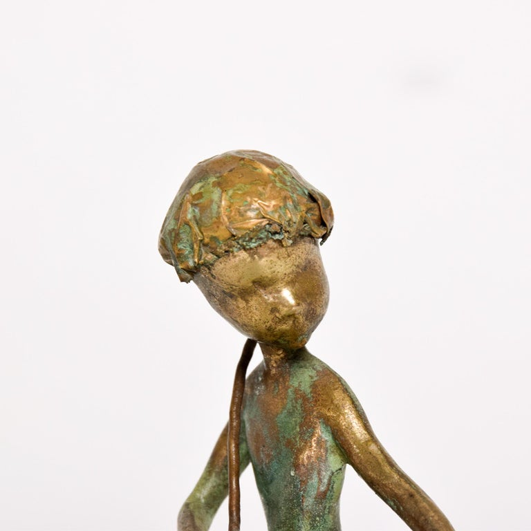 Poetic Bronze Art Sculpture Boy in Tree with Dog Giacometti Figural Style 1940s For Sale 4