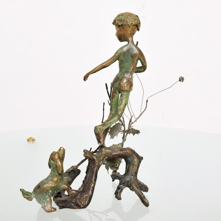 American Classical Poetic Bronze Art Sculpture Boy in Tree with Dog Giacometti Figural Style 1940s For Sale