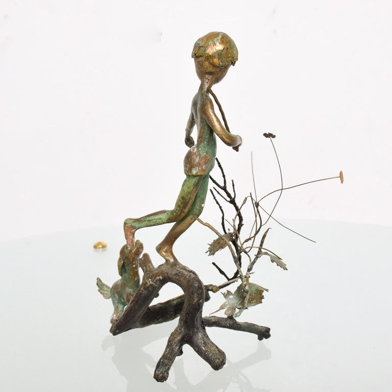 American Poetic Bronze Art Sculpture Boy in Tree with Dog Giacometti Figural Style 1940s For Sale