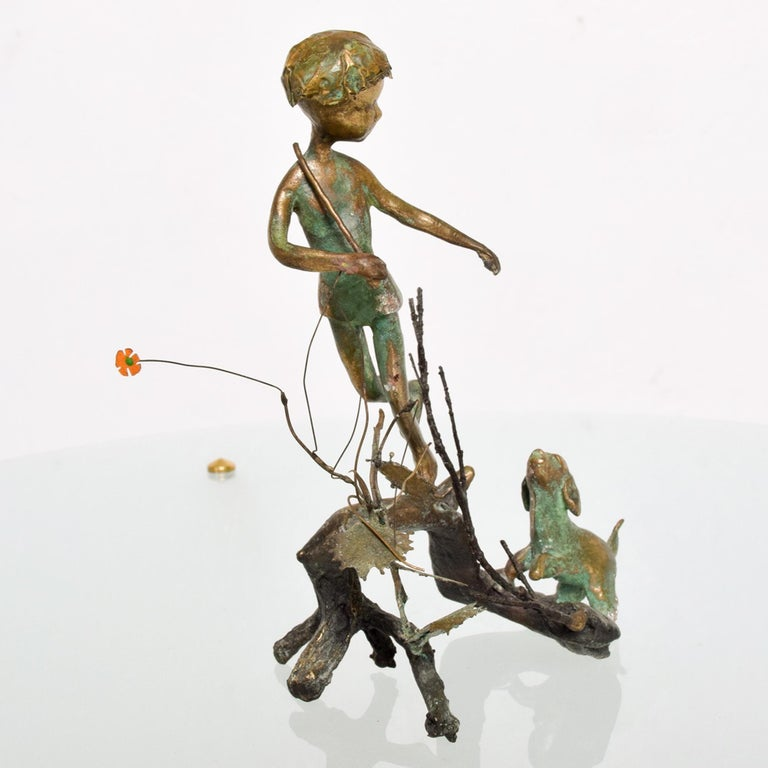 Poetic Bronze Art Sculpture Boy in Tree with Dog Giacometti Figural Style 1940s In Good Condition For Sale In National City, CA