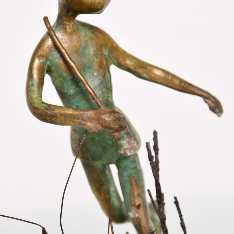 Poetic Bronze Art Sculpture Boy in Tree with Dog Giacometti Figural Style 1940s For Sale 1