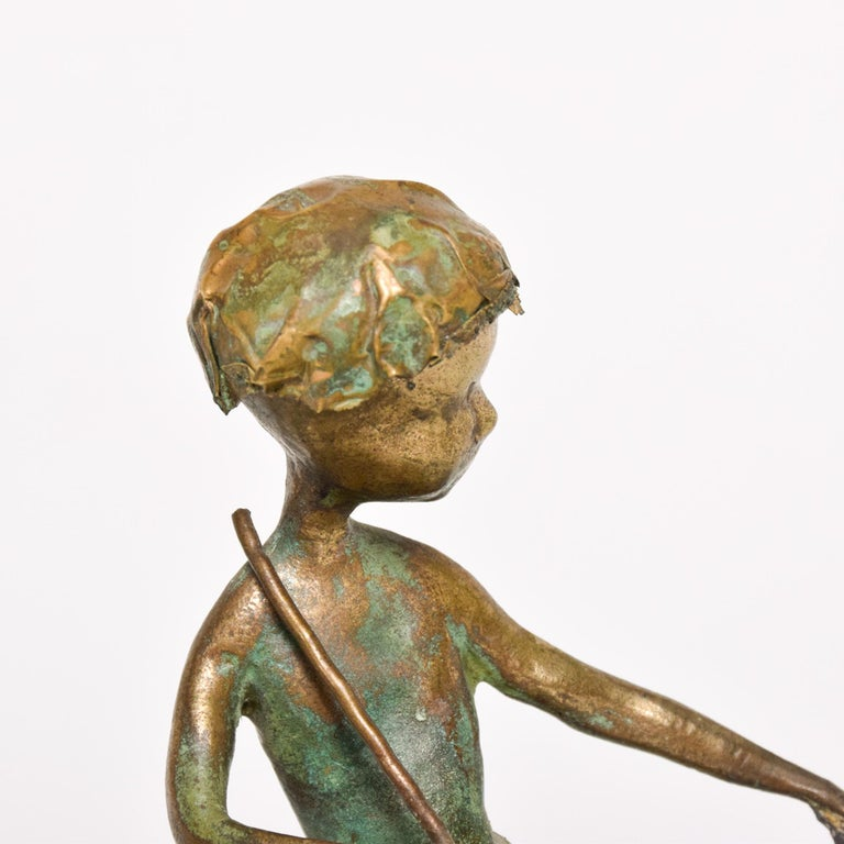 Poetic Bronze Art Sculpture Boy in Tree with Dog Giacometti Figural Style 1940s For Sale 2