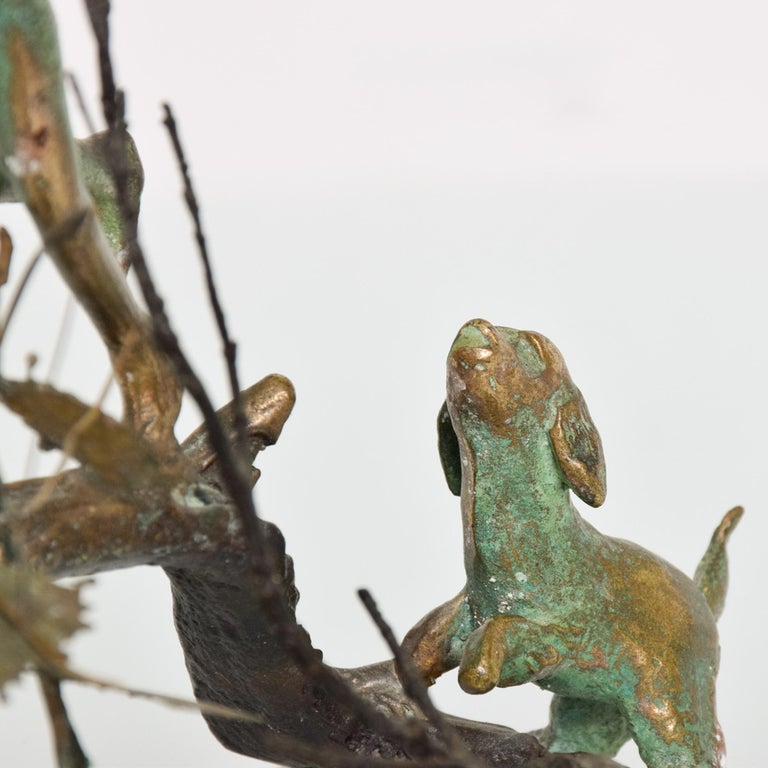 Poetic Bronze Art Sculpture Boy in Tree with Dog Giacometti Figural Style 1940s For Sale 3