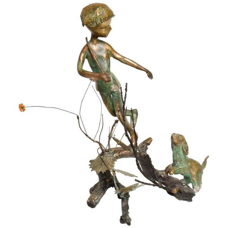 Poetic Bronze Art Sculpture Boy in Tree with Dog Giacometti Figural Style 1940s For Sale