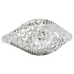 Delicate Edwardian 0.95 Carat Diamond Platinum Filigree Engagement Ring GIA