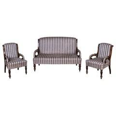 Delicate Garniture Gründerzeit 1880 Sofa and 2 Armchair