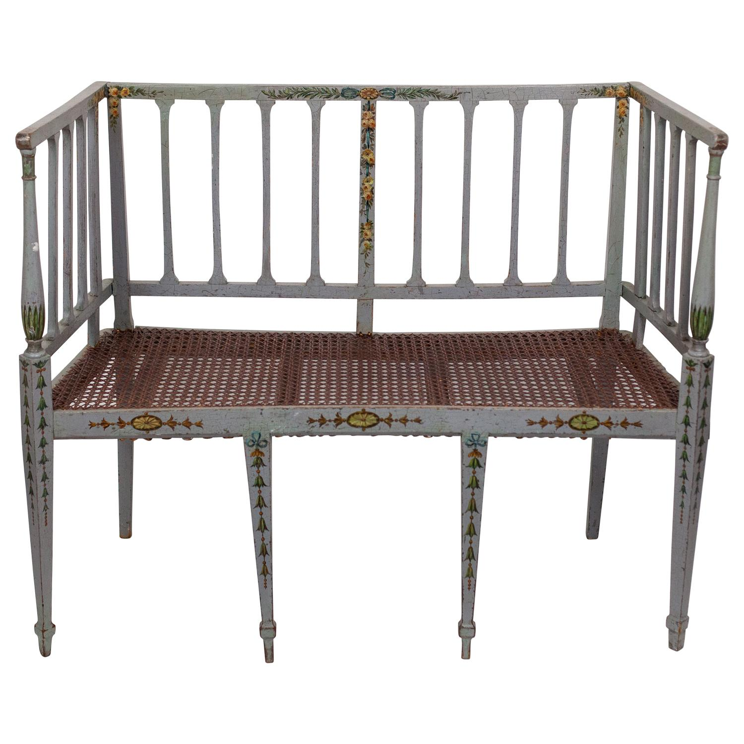 Delicate Hand Painted Early American Folk Settee