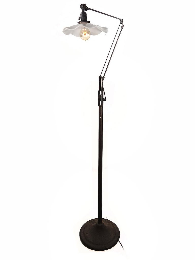 Delicate Industrial Articulated Floor Lamp In Good Condition For Sale In Peekskill, NY