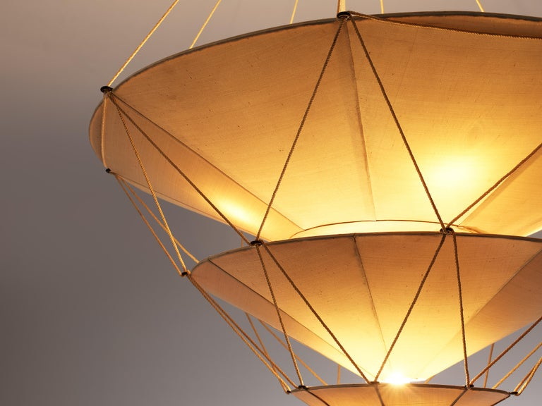 Art Deco Delicate Mariano Fortuny 'Icaro' Chandelier in Silk For Sale
