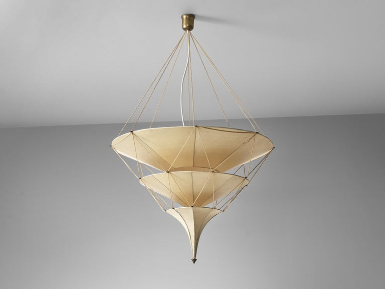 Italian Delicate Mariano Fortuny 'Icaro' Chandelier in Silk For Sale