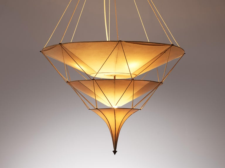 Mid-20th Century Delicate Mariano Fortuny 'Icaro' Chandelier in Silk For Sale