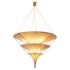 Delicate Mariano Fortuny 'Icaro' Chandelier in Silk