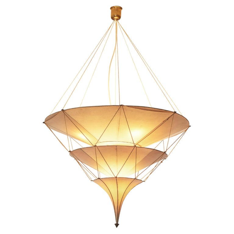 Delicate Mariano Fortuny 'Icaro' Chandelier in Silk For Sale