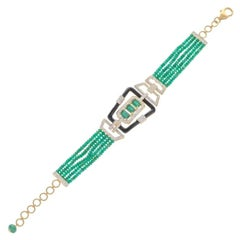Delicate Natural Emerald Yellow Gold Black Enamel Bracelet for Her