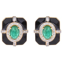 Delicate Natural Emerald Yellow Gold Black Enamel Lever, Back Earrings for Her