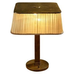Delicate Paavo Tynell for Taito Table Lamp Model 5066 in Brass, Wood and Fabric