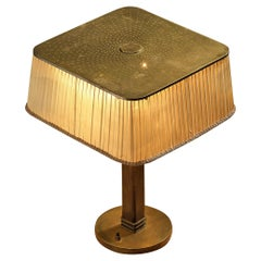 Delicate Paavo Tynell for Taito Table Lamp Model '5066 in Brass Wood and Fabric