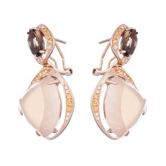 Delicate Quartz Moonstone Yellow Topaz White Diamond Yellow Gold Drop Earrings