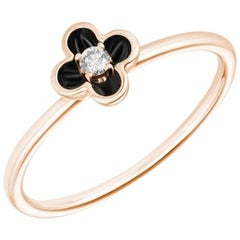 Delicate Rose Gold White Diamond Flower Ring for Her