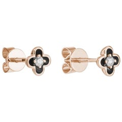 Delicate Rose Gold White Diamond Flower Stud Earrings for Her