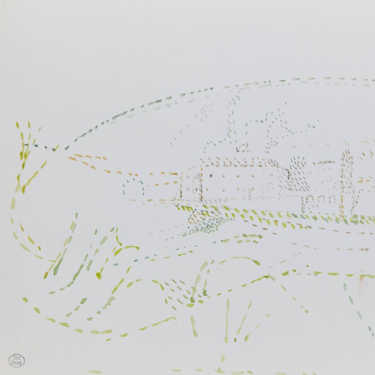 Mid-Century Modern Delicate Signed Pointillist Color Drawing by Dora Maar, circa 1960 For Sale