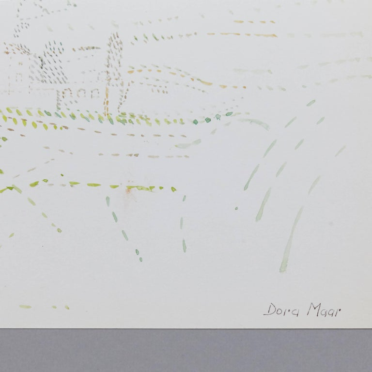 French Delicate Signed Pointillist Color Drawing by Dora Maar, circa 1960 For Sale