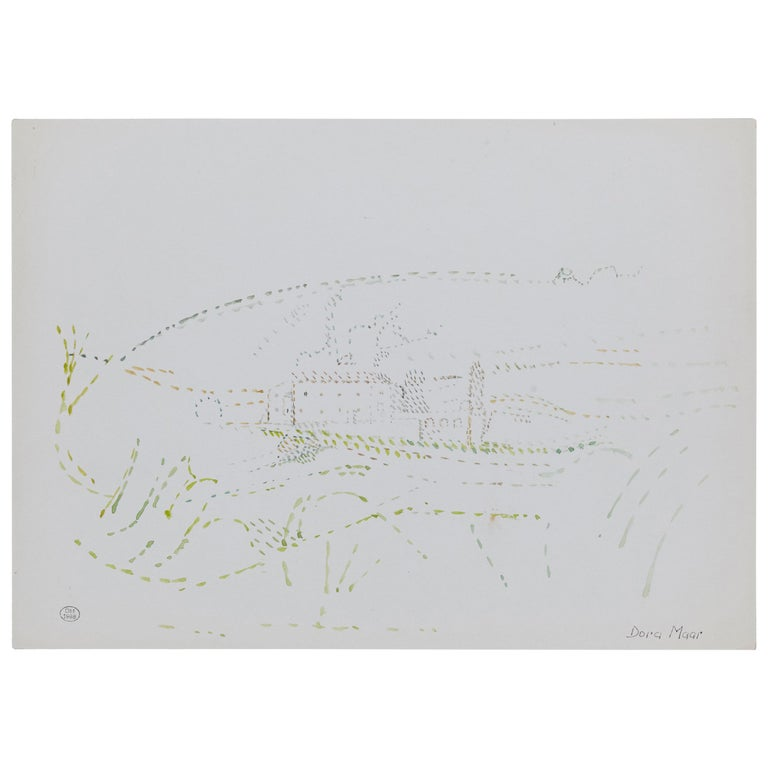 Delicate Signed Pointillist Color Drawing by Dora Maar, circa 1960 For Sale