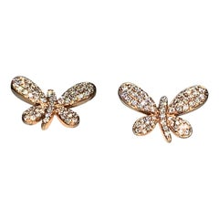 Delicate Whimsical Handcrafted 18 Karat Gold White Diamond Dragonfly Earrings
