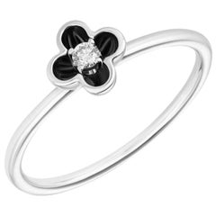 Delicate White Gold White Diamond Black Enamel Flower Ring for Her