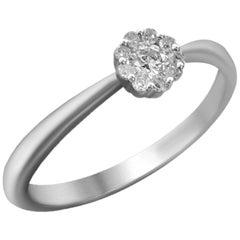 Delicate White Gold White Diamond Engagement Wedding Ring