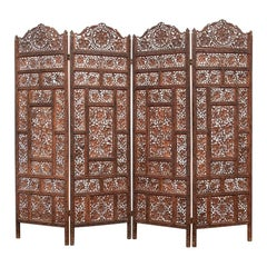 Delicately Carved Wood 4 Panel Leaf And Grape Motif  Screen