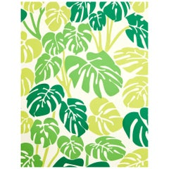 Deliciosa Designer Wallpaper in Color Bungalow 'Mixed Greens on Soft White'