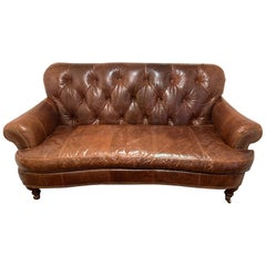Delicious Supple Tufted Brown Leather Settee Loveseat