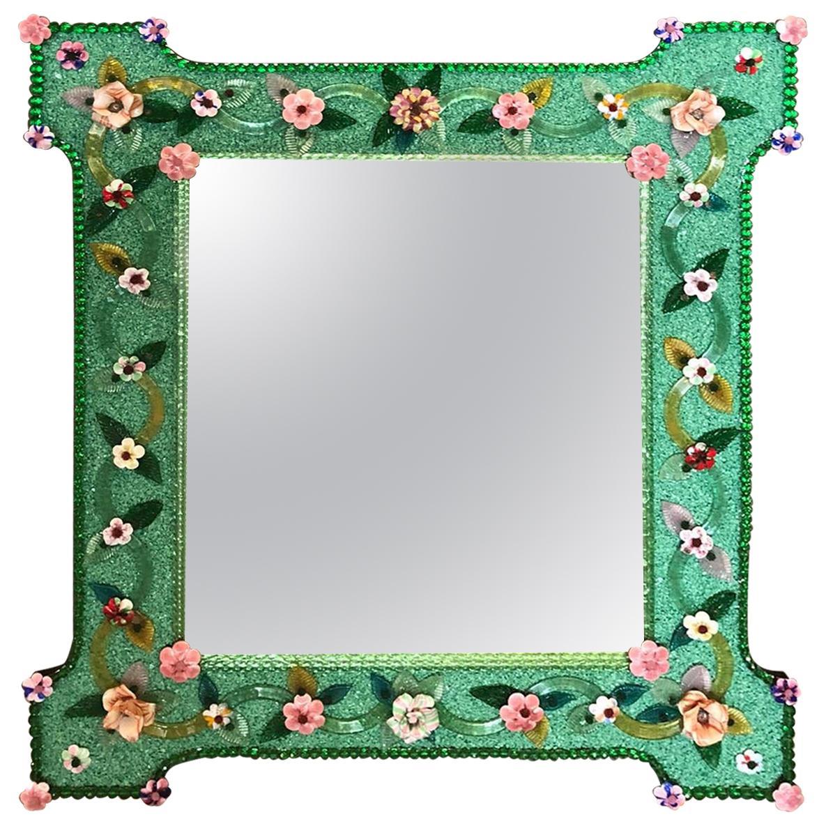 Delicious Venetian Murano Glass Mirror with Multicolor Flowers