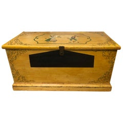 Delightful Antique Painted Hope Chest with Handpainted Dutch Figures