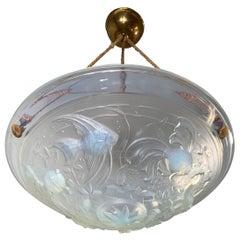 Delightful Art Deco Pendant Light with René Lalique Style Glass Fish Sculptures