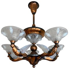 Marvelous Bronze Art Deco Chandelier with René Lalique St. Glass Bird Sculptures