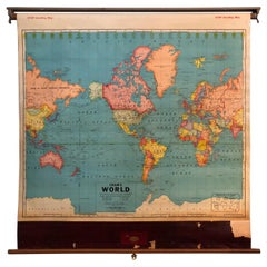 Delightful Big Retro Roller Wall Map of the World