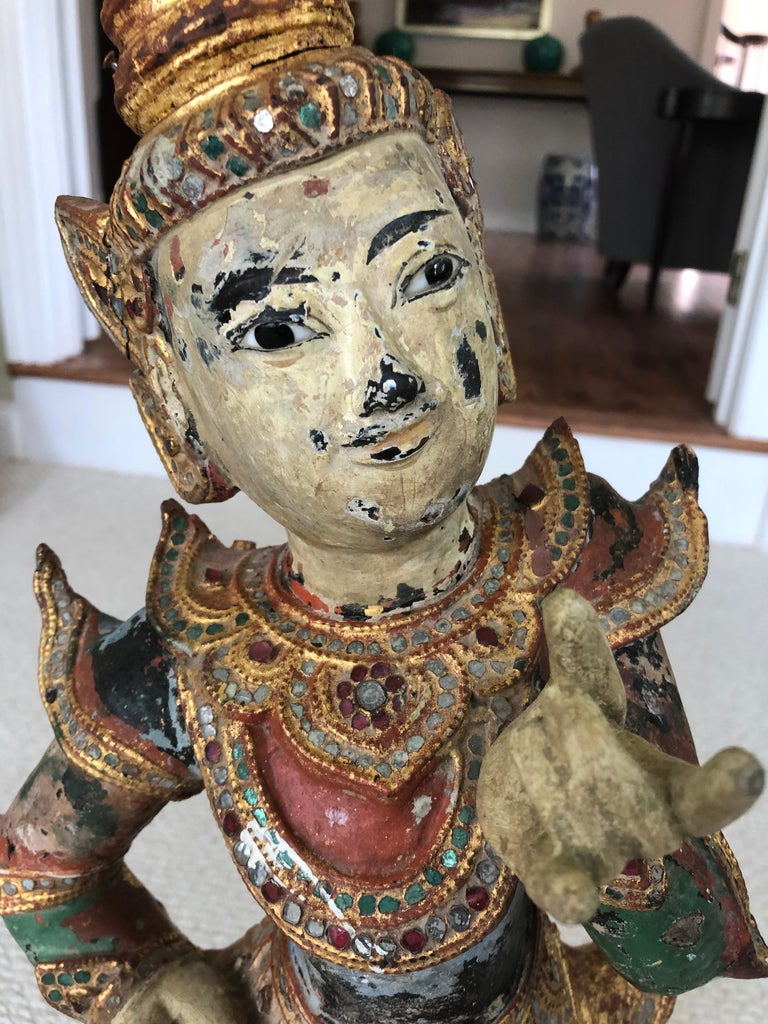 19th Century Delightful Burmese Dancing Figure Scultpure For Sale