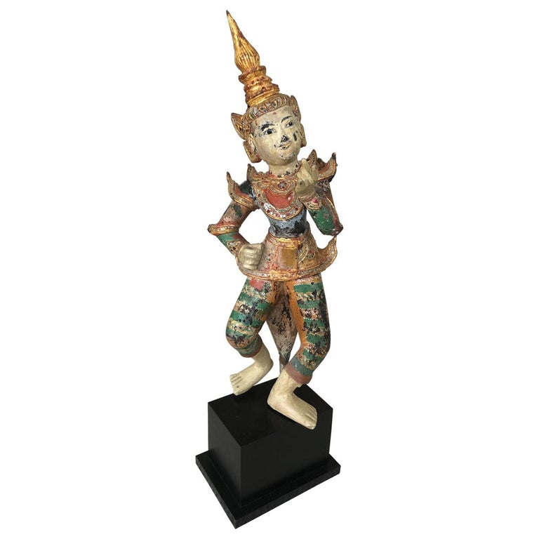 Delightful Burmese Dancing Figure Scultpure For Sale