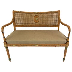Delightful Caned and Hand Painted Venetian Style Loveseat Settee