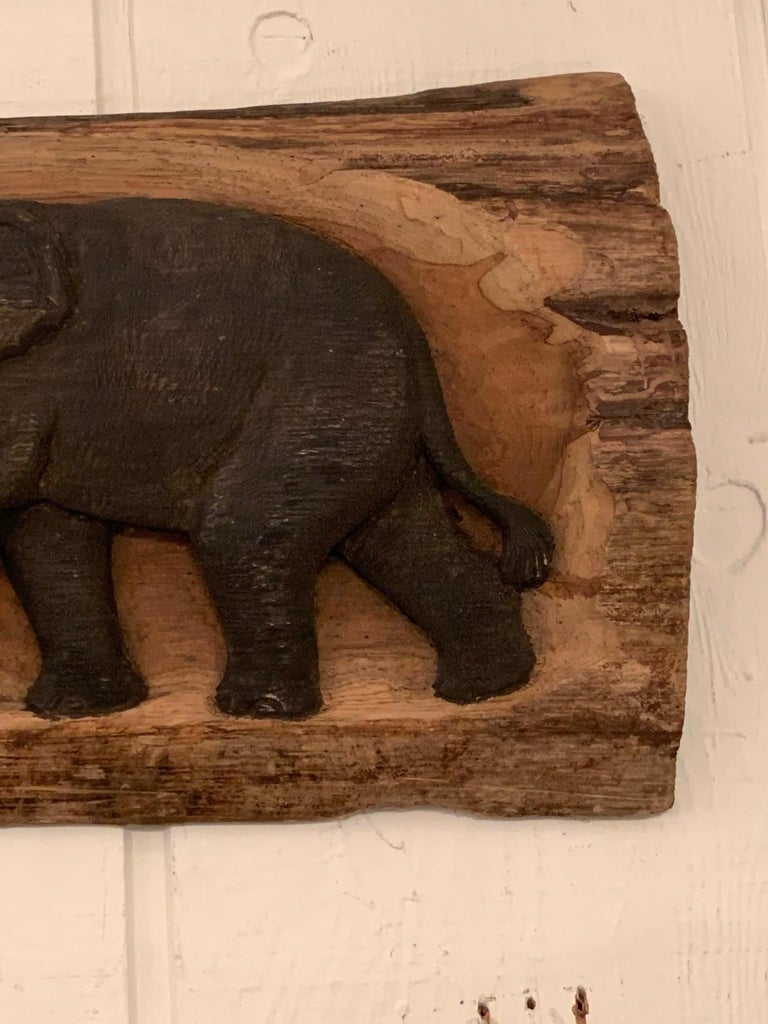 Mid-20th Century Delightful Carved Wood Long Horizontal Wall Relief Sculpture of Elephants For Sale