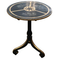 Delightful Distressed Black, Grey and Gold Cherub Motife Side Table