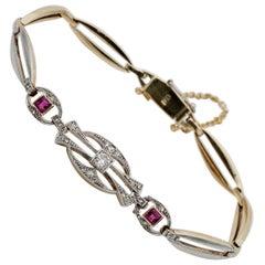 Delightful Edwardian Diamond Ruby Platinum Gold Bracelet