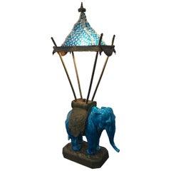 Delightful English Blue Ceramic Elephant Table Lamp