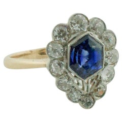 Delightful Fancy Cut Sapphire and Diamond Ring circa 1920s in Platinum and 14k